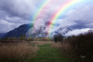Mt Si Meadowbrook Farm Path Double Rainbow Clouds 3-31-15